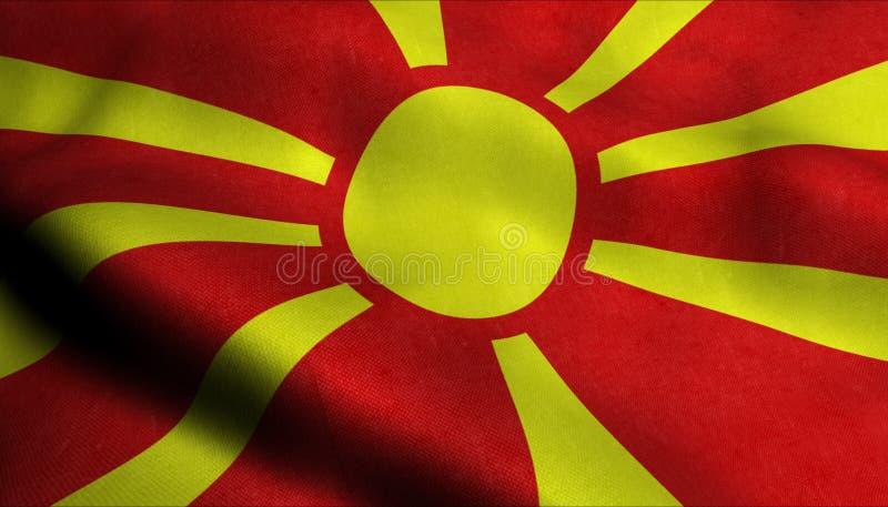 Bandeira de ondulação de Macedônia em 3D ilustração do vetor