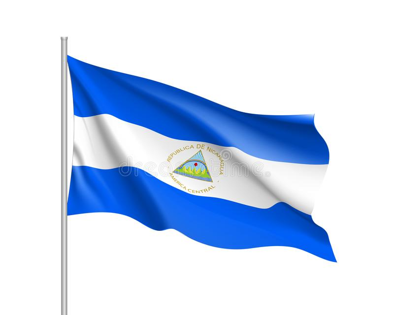 Bandeira de ondulação de Nicarágua ilustração stock