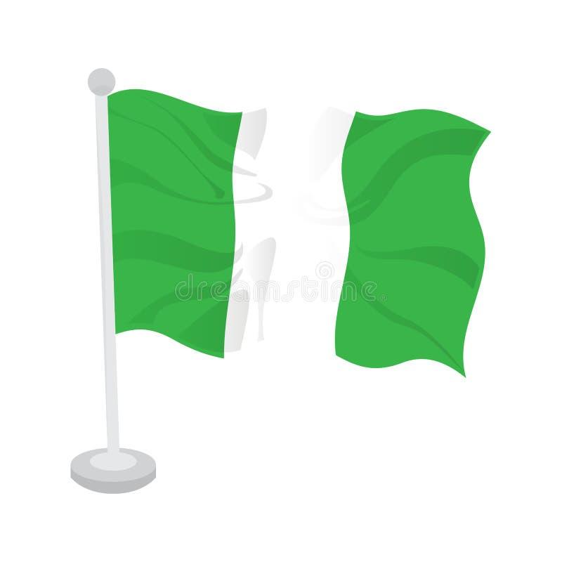Bandeira de ondulação de Nigéria ilustração stock