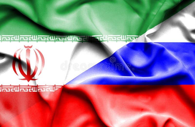 Bandeira de ondulação de Rússia e de Irã ilustração royalty free