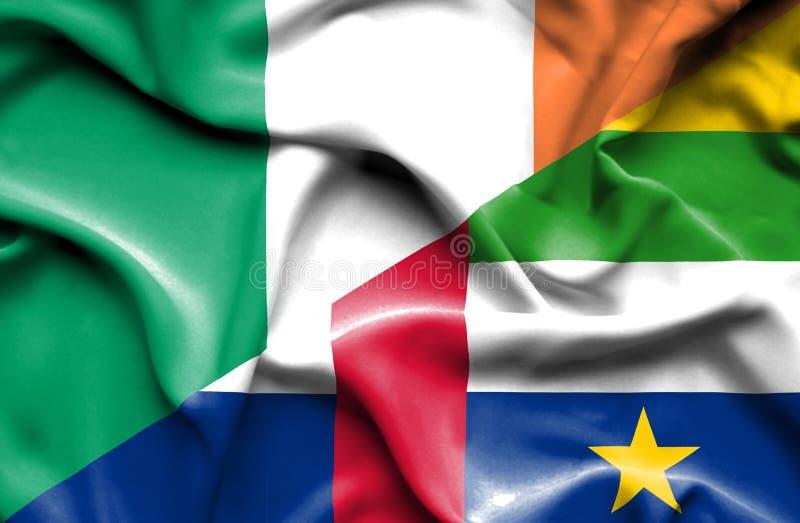 Bandeira de ondulação de República Centro-Africana e da Irlanda ilustração stock