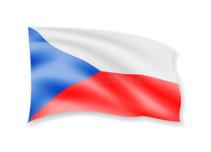 Bandeira de ondulação de República Checa no branco Bandeira no vento ilustração royalty free