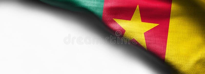 Bandeira de ondulação de República dos Camarões, África no fundo branco - bandeira de canto superior direita imagens de stock