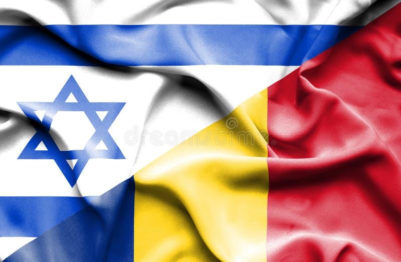 Bandeira de ondulação de Romênia e de Israel ilustração royalty free