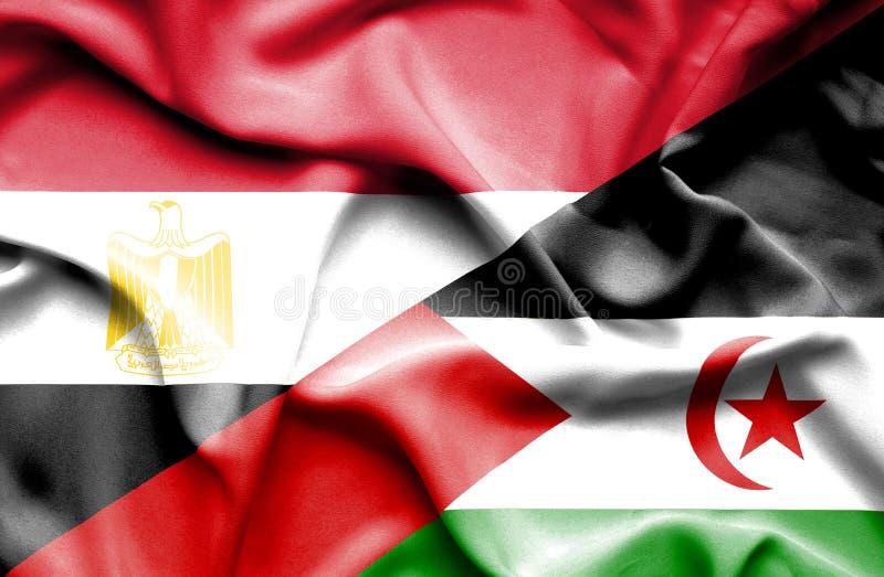 Bandeira de ondulação de Sara Ocidental e de Egito imagens de stock royalty free