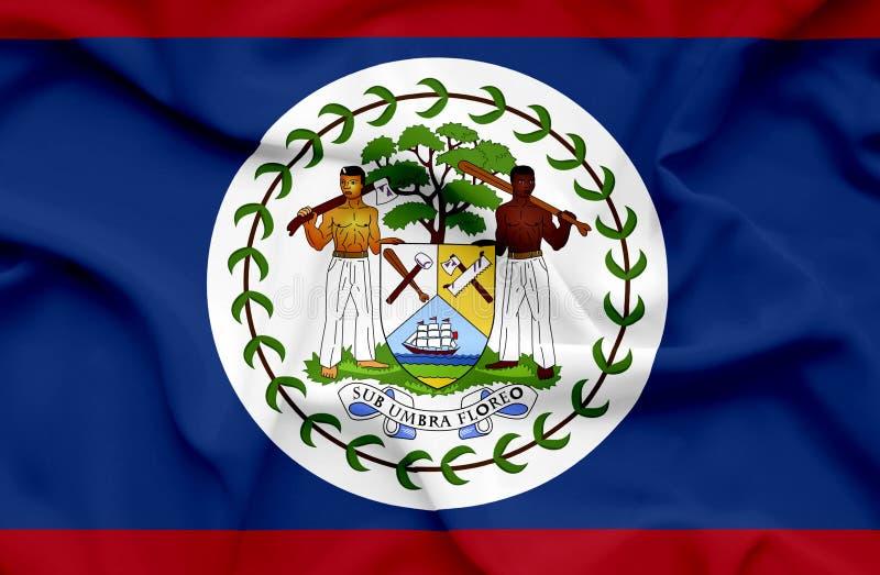 Bandeira de ondula??o de Belize ilustração do vetor