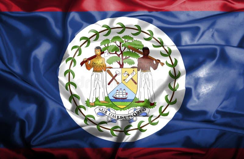 Bandeira de ondula??o de Belize ilustração stock