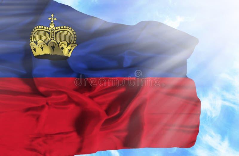 Bandeira de ondula??o de Lichtenstein contra o c?u azul com raios de sol ilustração do vetor