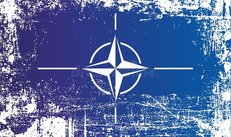 Bandeira de OTAN, Organização do Tratado do Atlântico Norte Pontos sujos enrugados imagens de stock