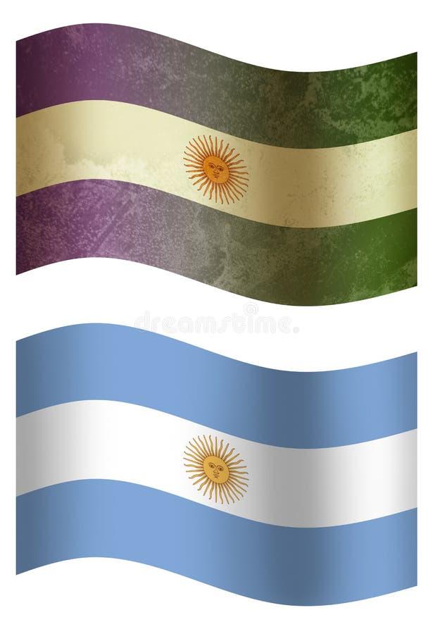 Bandeira de país de Argentina 3D, dois estilos ilustração royalty free