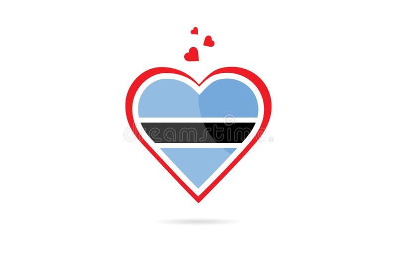 Bandeira de país de Botswana dentro do projeto criativo do logotipo do coração do amor ilustração stock