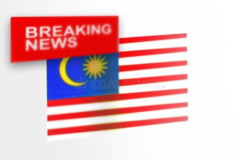 A bandeira de país das notícias de última hora, do Malásia e a notícia da inscrição imagens de stock