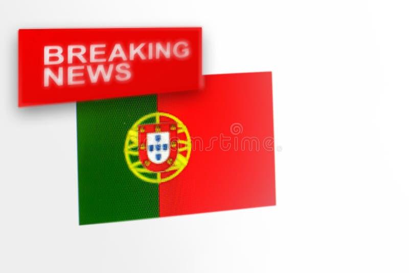 A bandeira de país das notícias de última hora, do Portugal e a notícia da inscrição fotos de stock