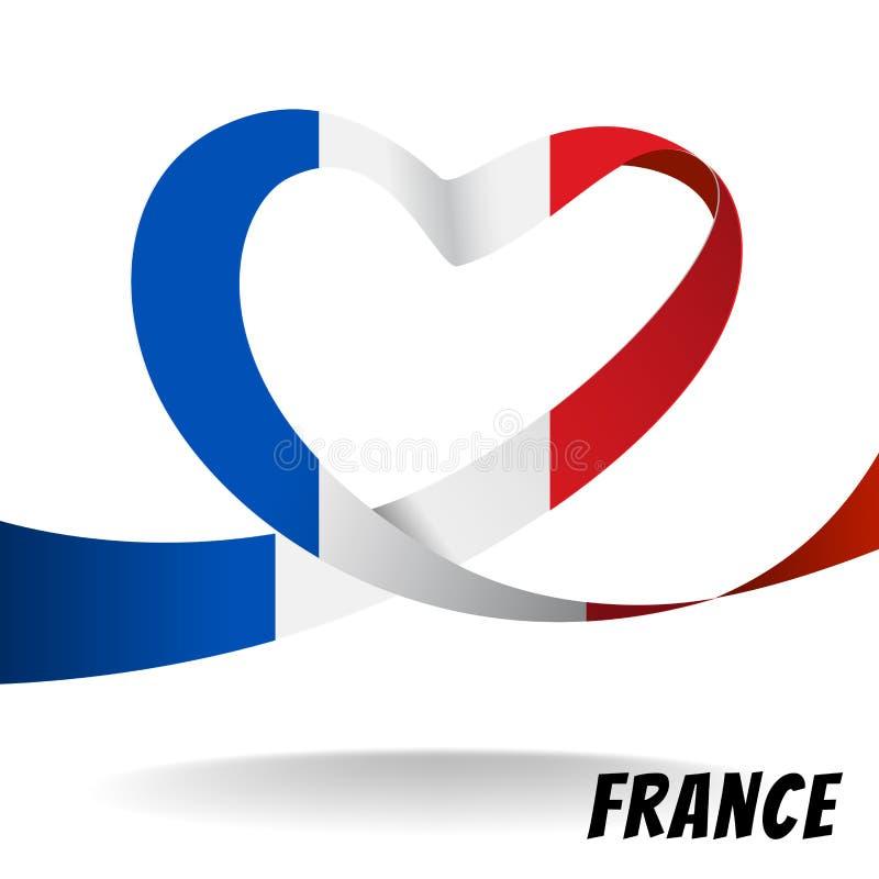 Bandeira de país de França no projeto do coração ilustração do vetor