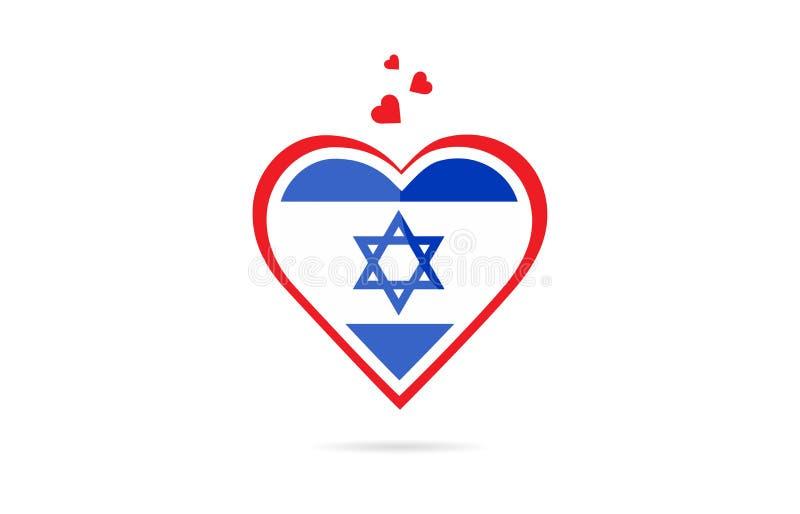 Bandeira de país de Israel dentro do projeto criativo do logotipo do coração do amor ilustração do vetor