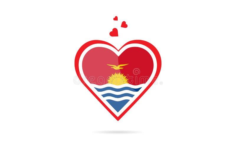 Bandeira de país de Kiribati dentro do projeto criativo do logotipo do coração do amor ilustração royalty free