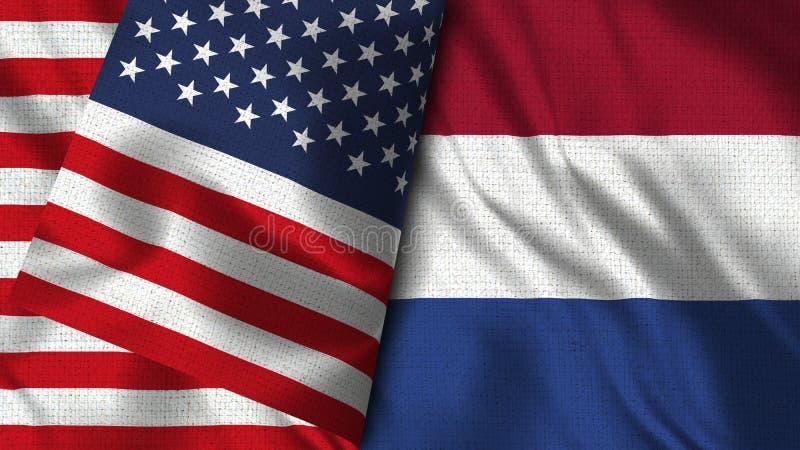Bandeira de Países Baixos e de EUA - 3D bandeira da ilustração dois ilustração stock