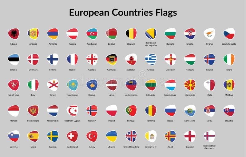 Bandeira de países europeus ilustração stock