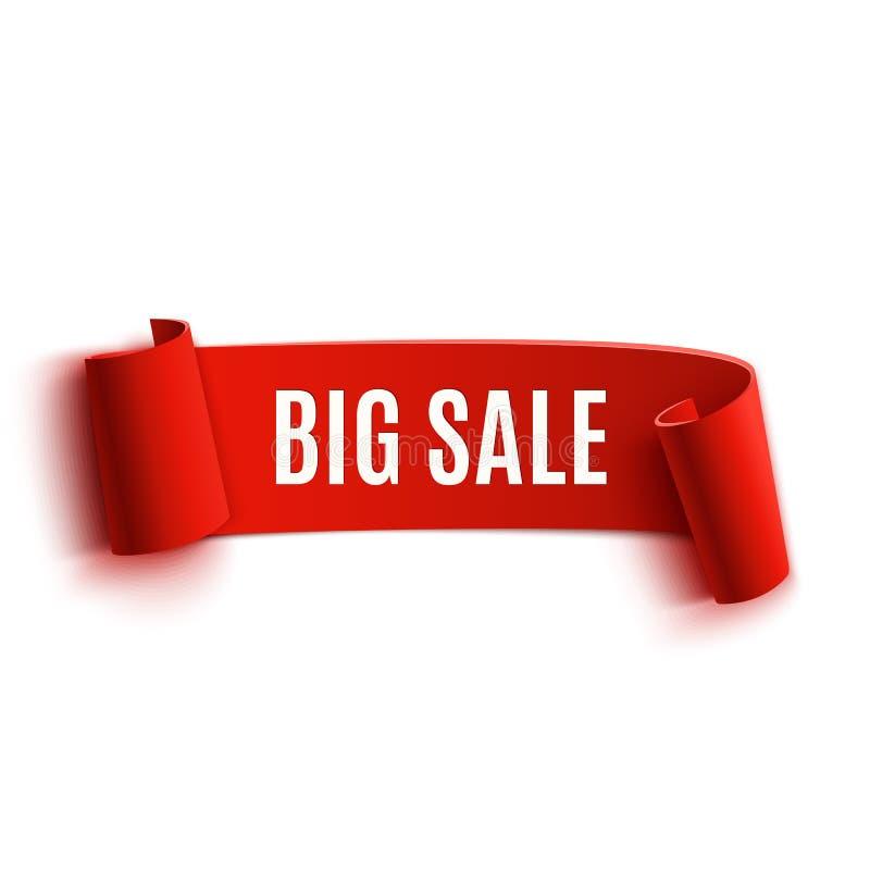 Bandeira de papel curvada detalhada realística vermelha da venda ilustração stock