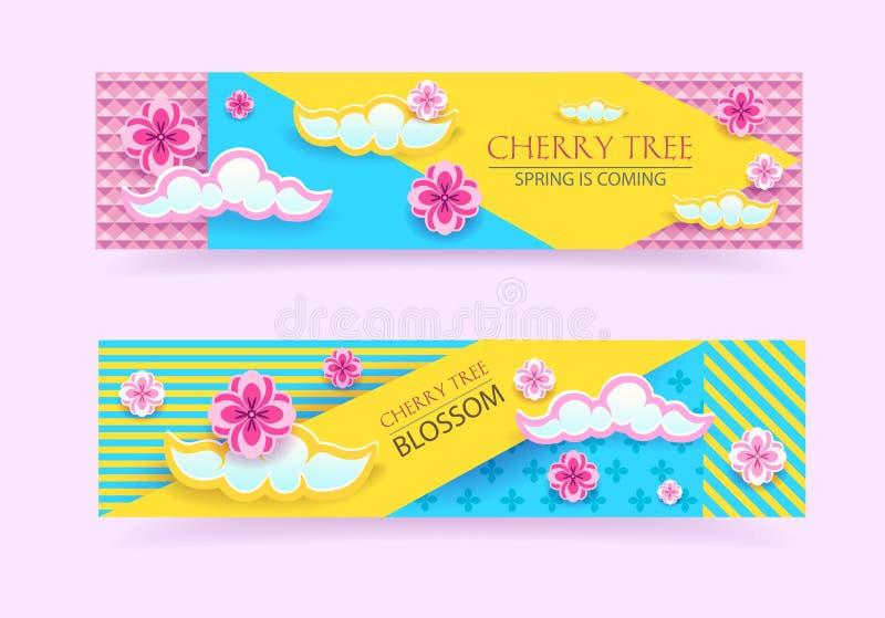 A bandeira de papel do corte ajustou-se com sakura, flor japaneese da árvore de cereja projeto gráfico de vetor ilustração stock