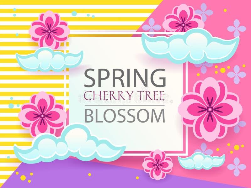 A bandeira de papel do corte ajustou-se com sakura, flor japaneese da árvore de cereja projeto gráfico de vetor ilustração do vetor