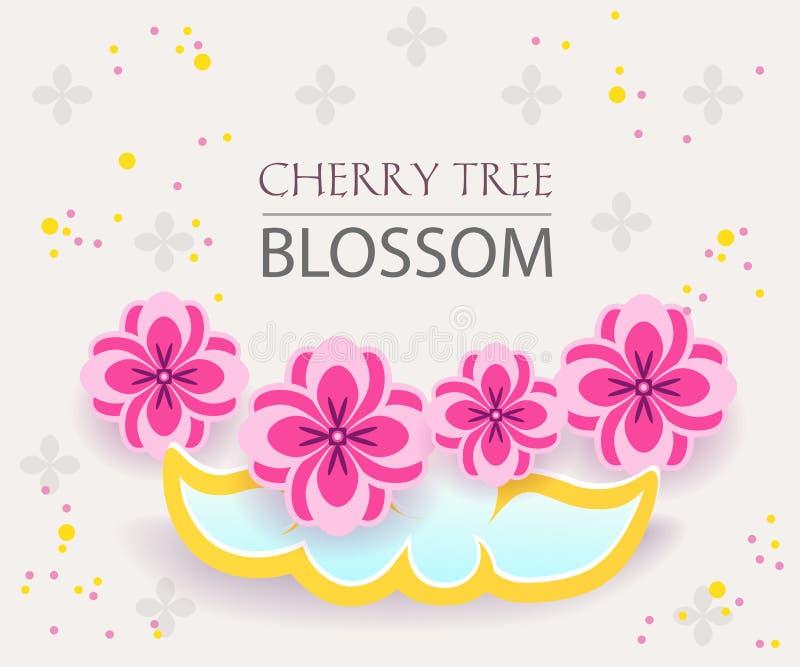 A bandeira de papel do corte ajustou-se com sakura, flor japaneese da árvore de cereja projeto gráfico de vetor Inseto asiático d ilustração royalty free