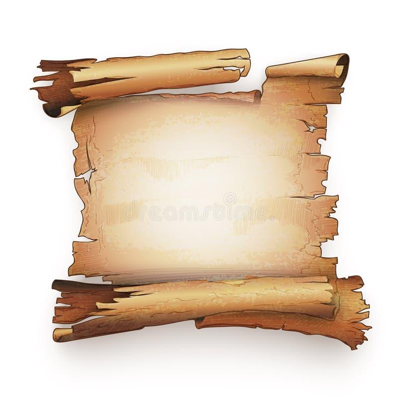 Bandeira de papel velha do pacote do manuscrito da antiguidade do rolo ilustração do vetor