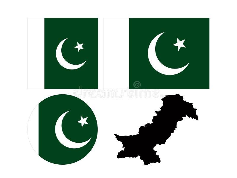 Bandeira de Paquistão e mapa - Republic of Pakistan islâmico ilustração do vetor