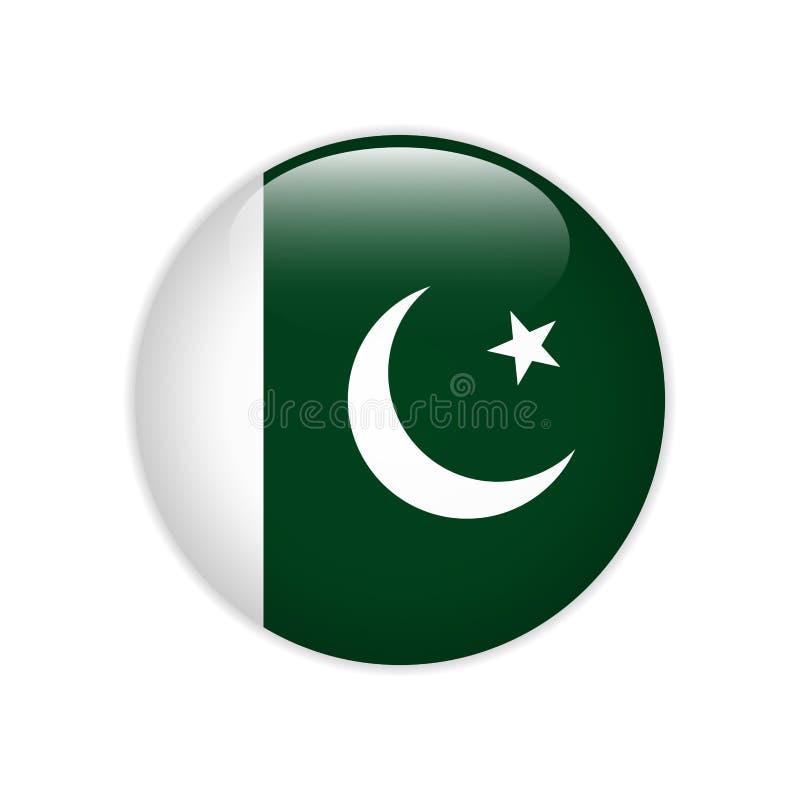 Bandeira de Paquistão no botão ilustração stock