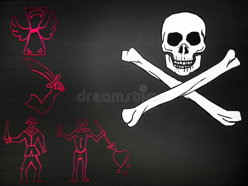 Bandeira de pirata com crânio ilustração do vetor