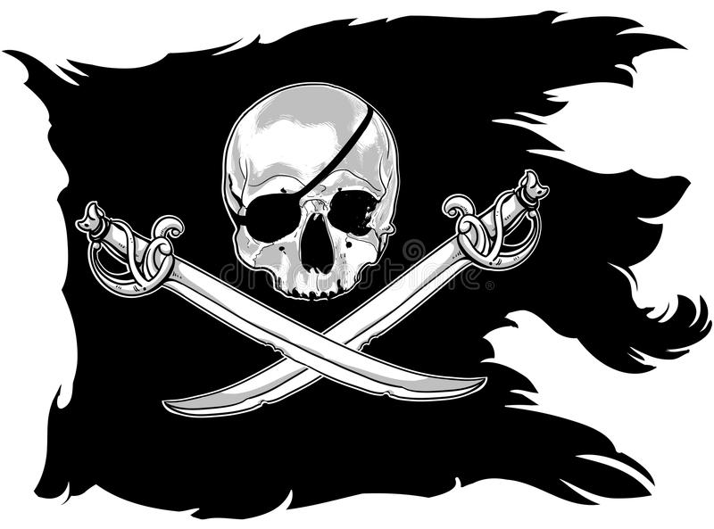 Bandeira de pirata com um crânio ilustração stock