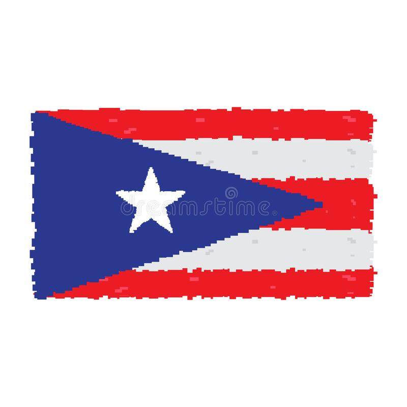 Bandeira de Pixelated de Porto Rico ilustração royalty free