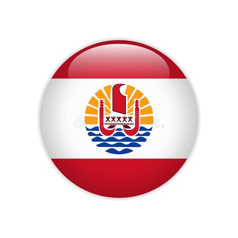 Bandeira de Polinésia francesa no botão ilustração stock