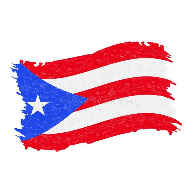 Bandeira de Porto Rico, curso da escova do sumário do Grunge isolado em um fundo branco Ilustração do vetor ilustração do vetor