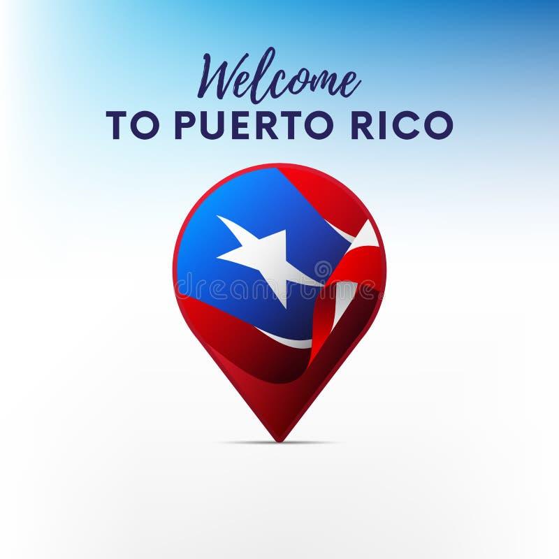 Bandeira de Porto Rico na forma do ponteiro ou do marcador do mapa Boa vinda a Porto Rico Vetor ilustração do vetor