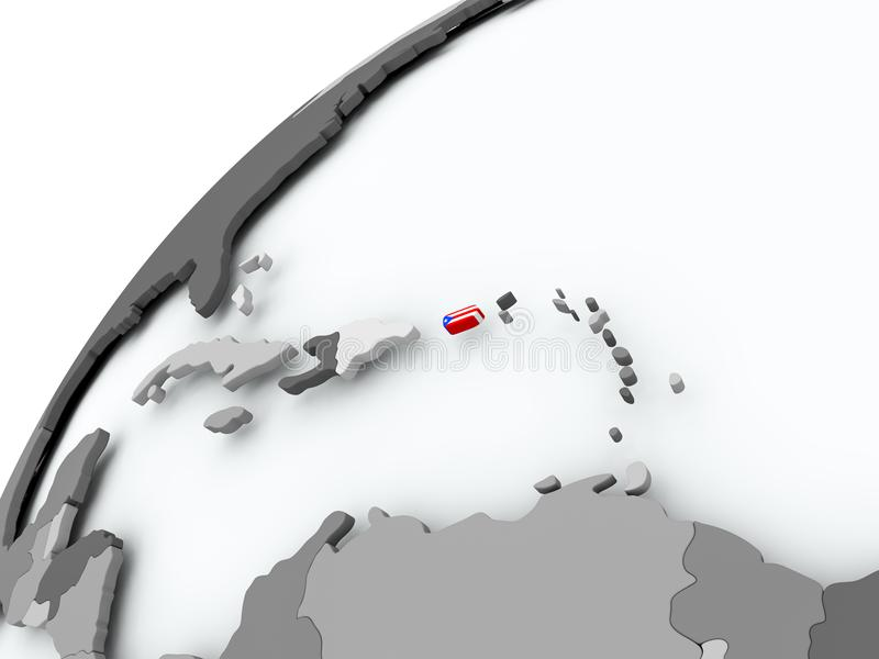 Bandeira de Porto Rico no globo cinzento ilustração royalty free