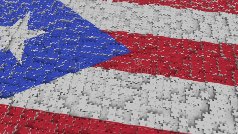 Bandeira de Porto Rico que está sendo feito com partes do enigma de serra de vaivém Rendição 3D conceptual da solução do problema ilustração royalty free