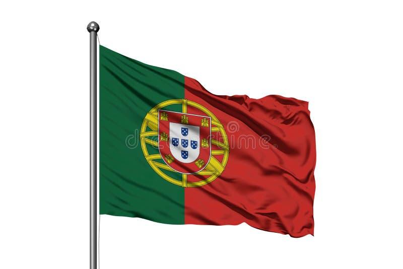 Bandeira de Portugal que acena no vento, fundo branco isolado Bandeira portuguesa foto de stock