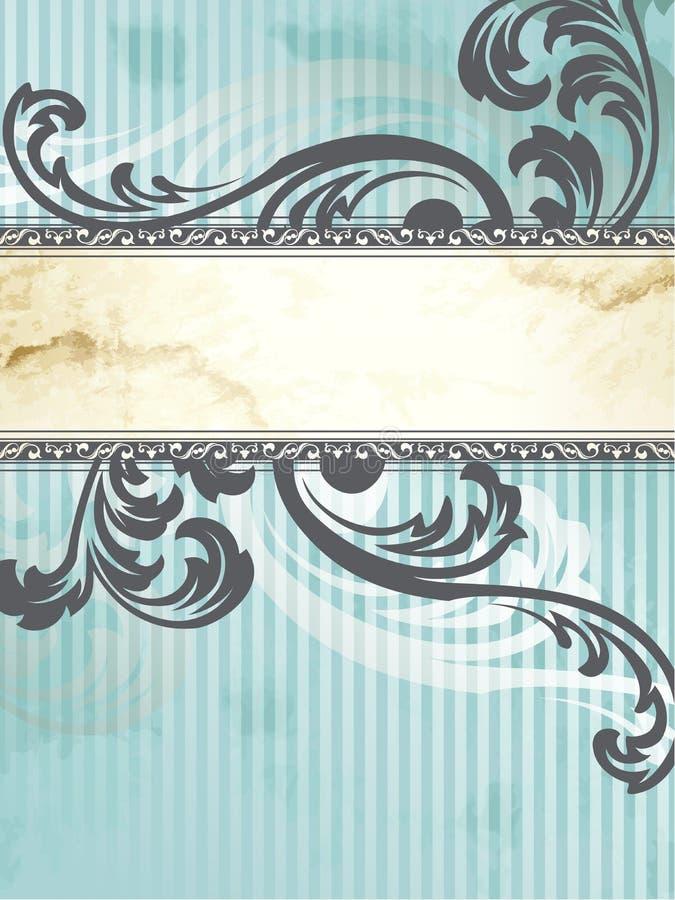 Bandeira de prata do vintage do Victorian, vertical ilustração do vetor