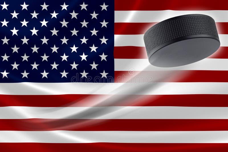 Bandeira de Puck Streaks Across EUA do hóquei ilustração royalty free