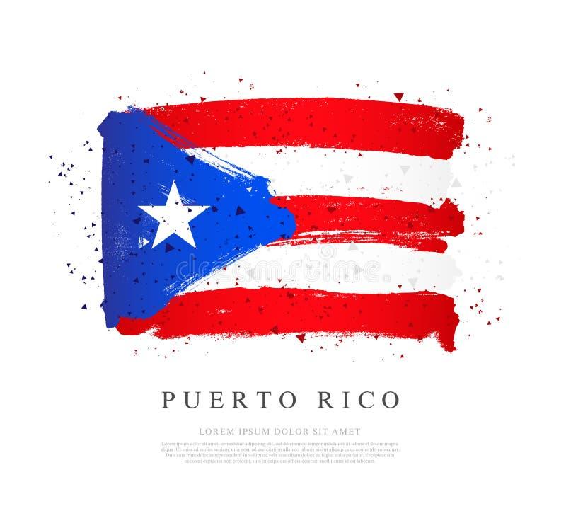 Bandeira de Puerto Rico Cursos da escova tirados ? m?o Fundo do grunge da independ?ncia Day ilustração royalty free