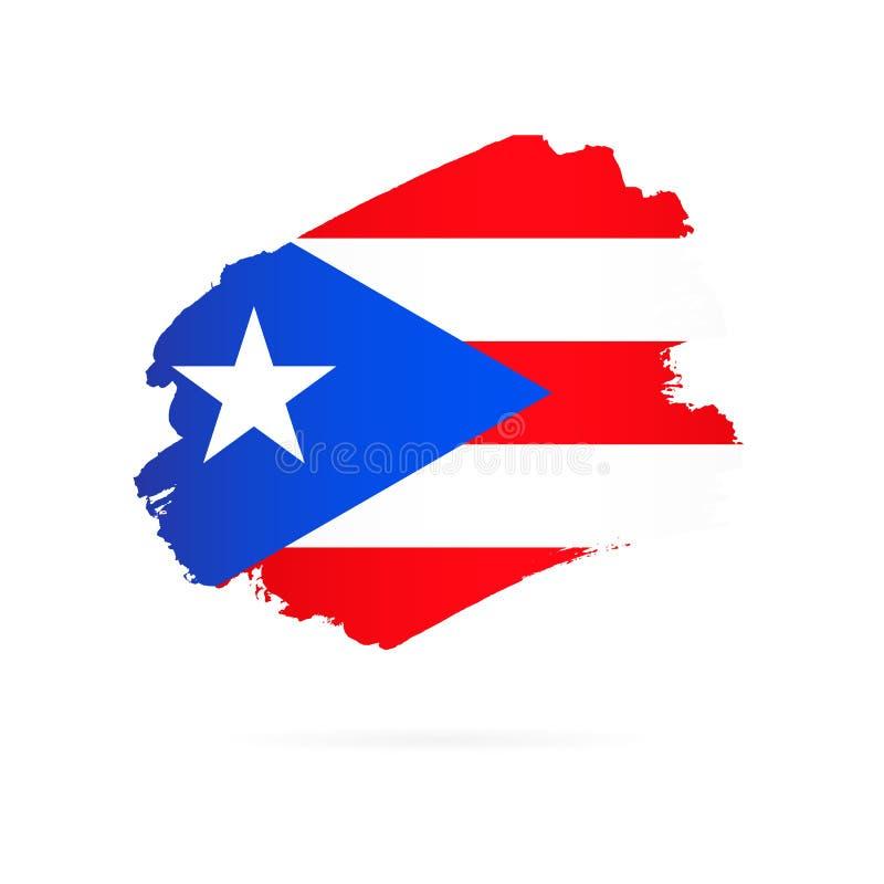 Bandeira de Puerto Rico Cursos da escova tirados ? m?o ilustração do vetor
