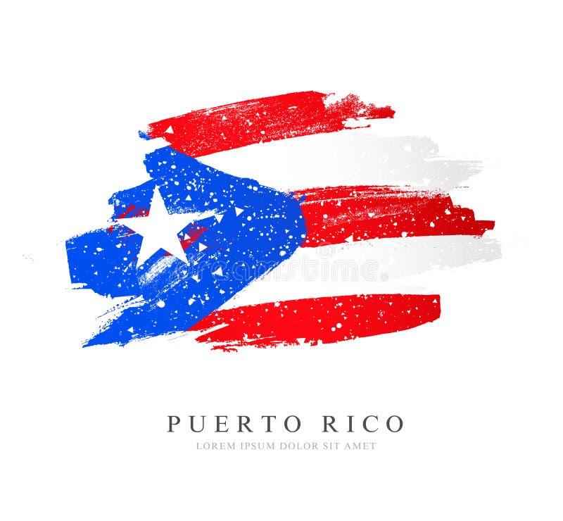 Bandeira de Puerto Rico Ilustra??o do vetor no fundo branco Fundo do grunge da independ?ncia Day ilustração royalty free