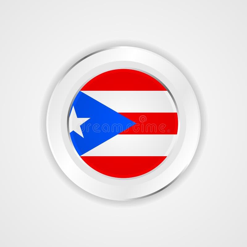 Bandeira de Puerto Rico no ícone lustroso ilustração do vetor