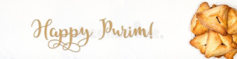 Bandeira de Purim, cumprimento do feriado foto de stock royalty free
