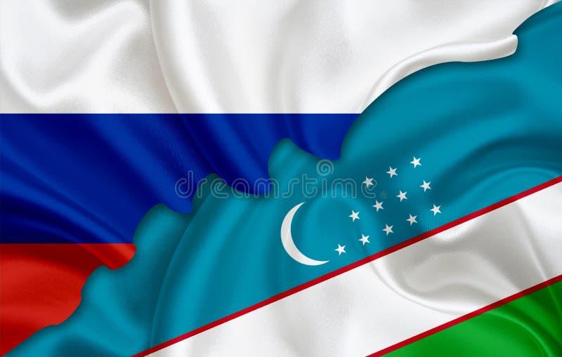 Bandeira de Rússia e bandeira de Usbequistão ilustração do vetor