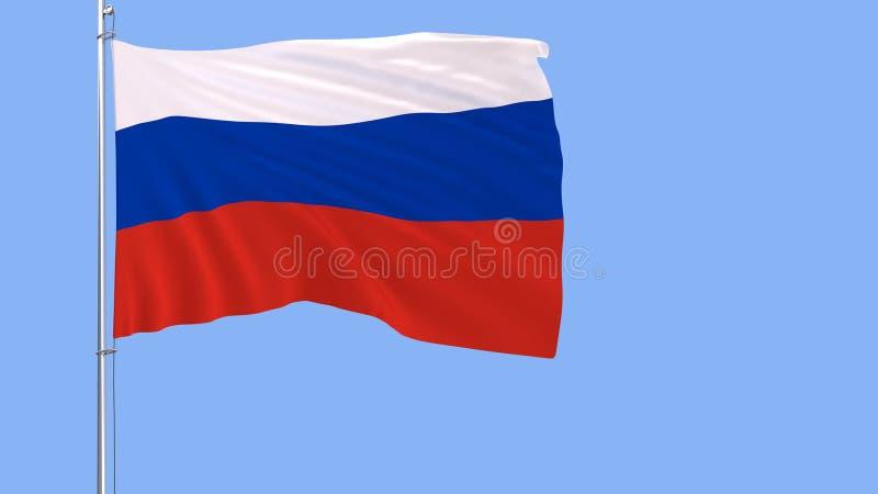Bandeira de Rússia em um mastro de bandeira que vibra no vento em um fundo azul, rendição 3d ilustração do vetor