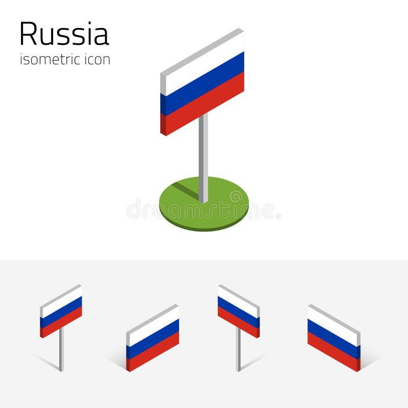 Bandeira de Rússia, grupo do vetor dos ícones 3D isométricos ilustração stock