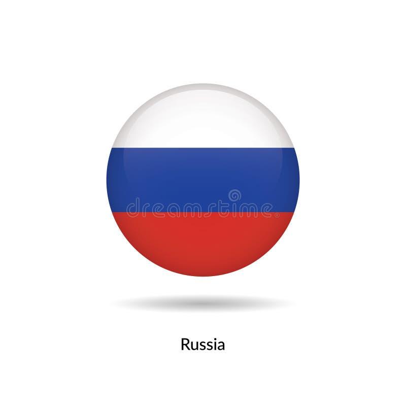 Bandeira de Rússia - lustroso redondo ilustração stock