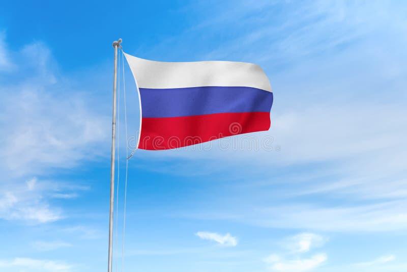 Bandeira de Rússia sobre o fundo do céu azul ilustração stock